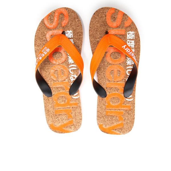 Superdry Men's Cork Colour Pop Flip Flops - Fluro Orange/Optic/Black
