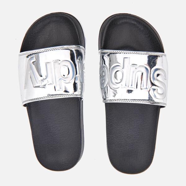 2b97a12226c7b0 Superdry Women s Pool Slide Sandals - Chrome  Image 1