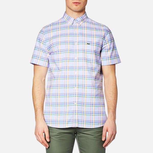 c7b2322f08385 Lacoste Men s Short Sleeve Check Shirt - Flower Purple Mandarin-Fi  Image 1