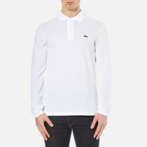 lacoste men 39 s long sleeve pique polo shirt white free. Black Bedroom Furniture Sets. Home Design Ideas