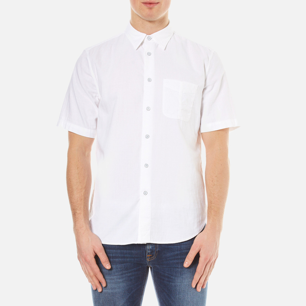 rag & bone Men's Standard Issue Short Sleeve Beach Shirt - White