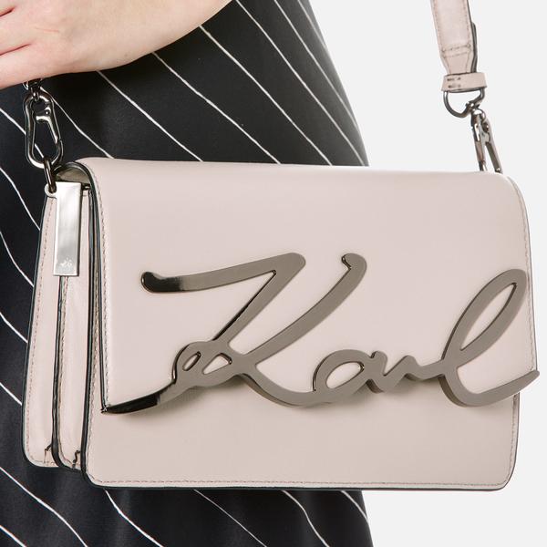 b80bd26d7e08 Karl Lagerfeld Women s K Metal Signature Shoulder Bag - Travertine  Image 3