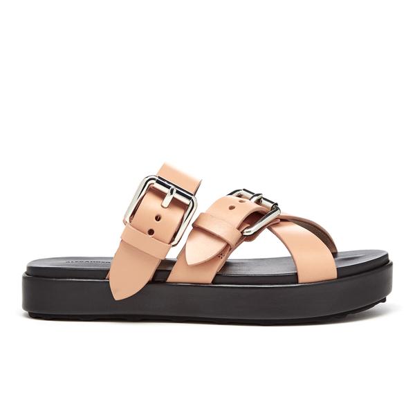 Alexander Wang Women's Kris Leather Double Strap Slide Sandals - Black/Natural