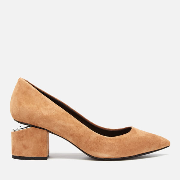 Alexander Wang Women's Simona Suede Block Heeled Court Shoes - Clay