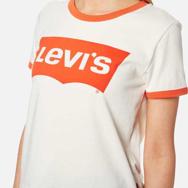 Levi s Women s Orange Tab Ringer Graphic Surf T-Shirt - Marshmellow  Image 4 4c57bac021