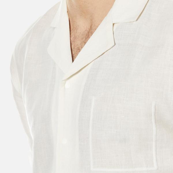 Folk Men 39 S Linen Cuban Collar Shirt White Free Uk