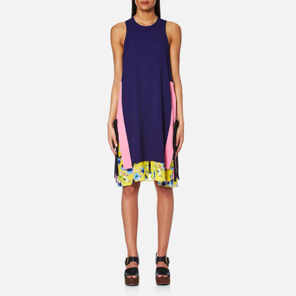 MSGM Women's Block Colour Floral Layer Midi Dress with Side Ties - Navy