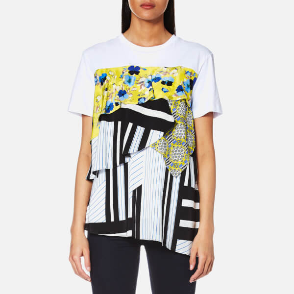 MSGM Women's Printed Volume Frill Top - White