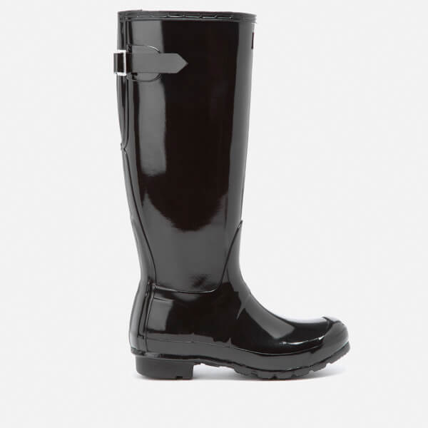 Hunter Women's Original Back Adjustable Gloss Wellies - Black