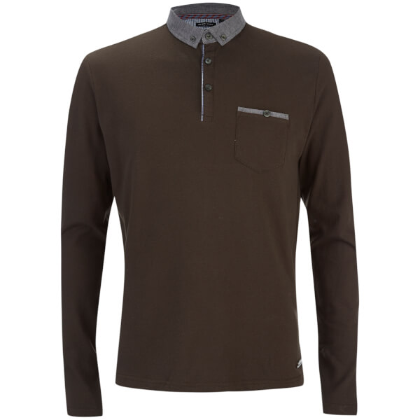 Brave Soul Men's Hera Long Sleeve Polo Shirt - Khaki
