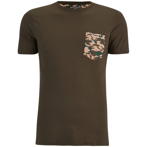 Brave Soul Men's Pulp Camo Pocket T-Shirt - Khaki