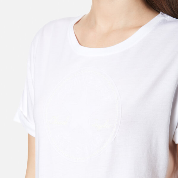Converse Women's Elevated Chuck Patch Easy Crew T-Shirt - White: Image 4