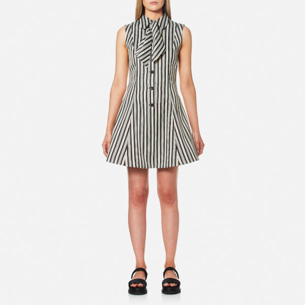 McQ Alexander McQueen Women's Neck Tie Dress - Striped Black/White