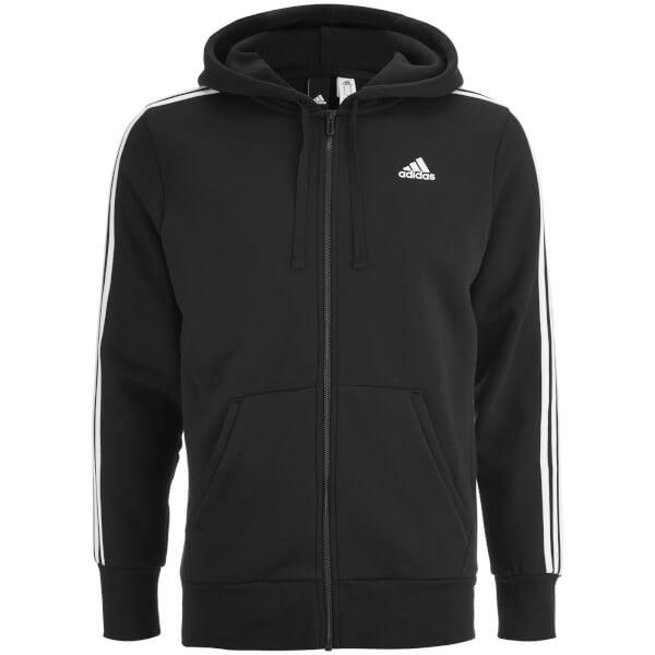 adidas Men's Essential 3 Stripe Fleece Hoody - Black