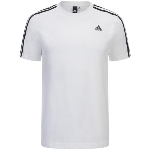 adidas Men's Essential 3 Stripe T-Shirt - White