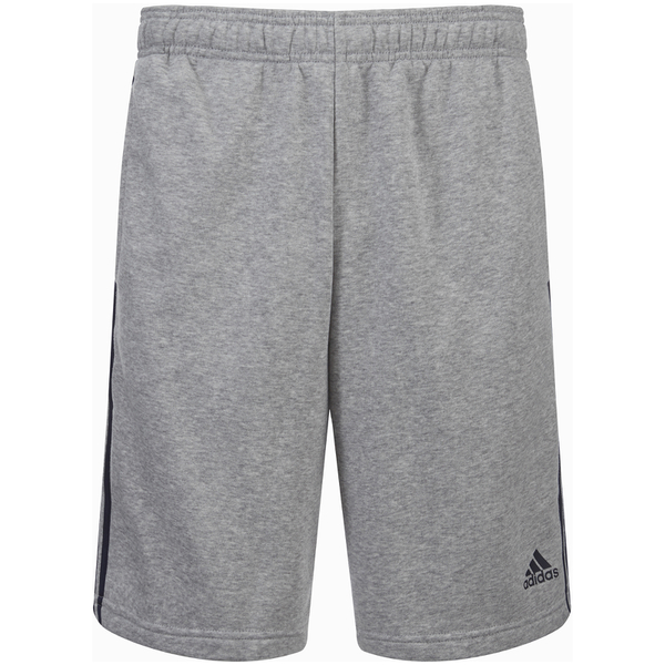 adidas Men's Essential 3 Stripe Fleece Jog Shorts - Grey