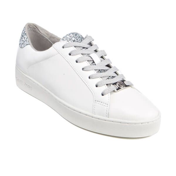 e402a46b382 MICHAEL MICHAEL KORS Women s Irving Lace Up Court Trainers - Optic White Silver   Image