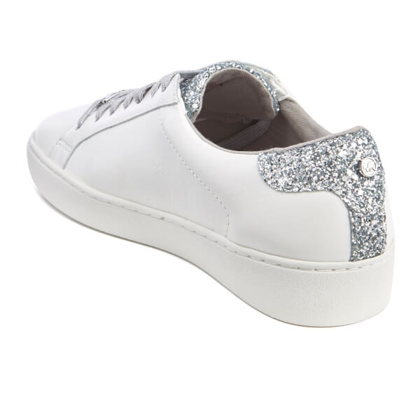 09a02b8015f3 MICHAEL MICHAEL KORS Women s Irving Lace Up Court Trainers - Optic White  Silver  Image