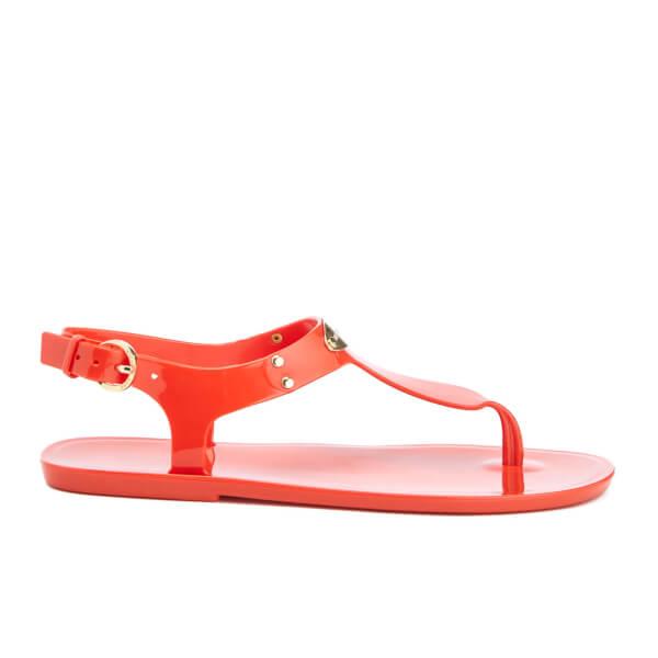 MICHAEL MICHAEL KORS Women's MK Plate Jelly Toe Post Sandals - Grenadine