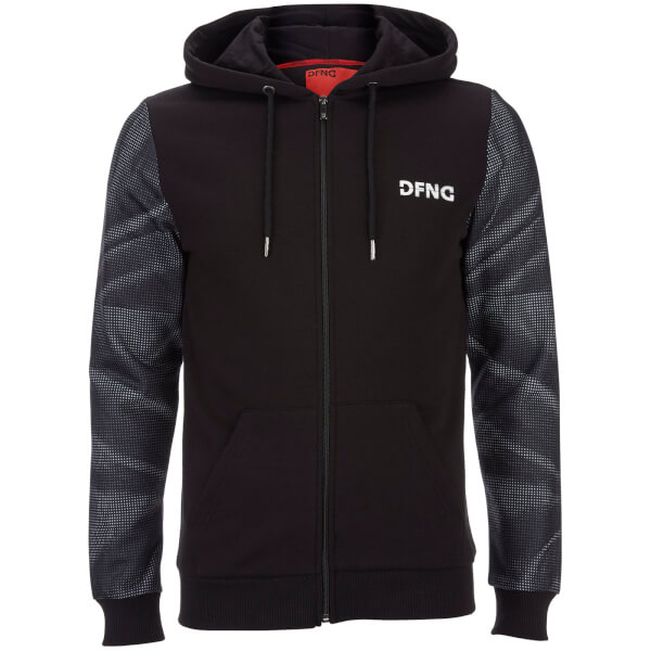 DFND Men's Dismissed Contrast Sleeve Logo Hoody - Black