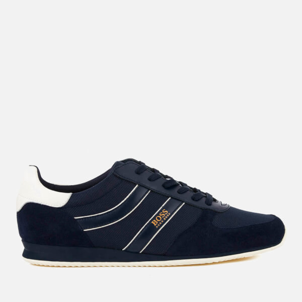 BOSS Orange Men's Orlando Nylon/Suede Trainers - Dark Blue