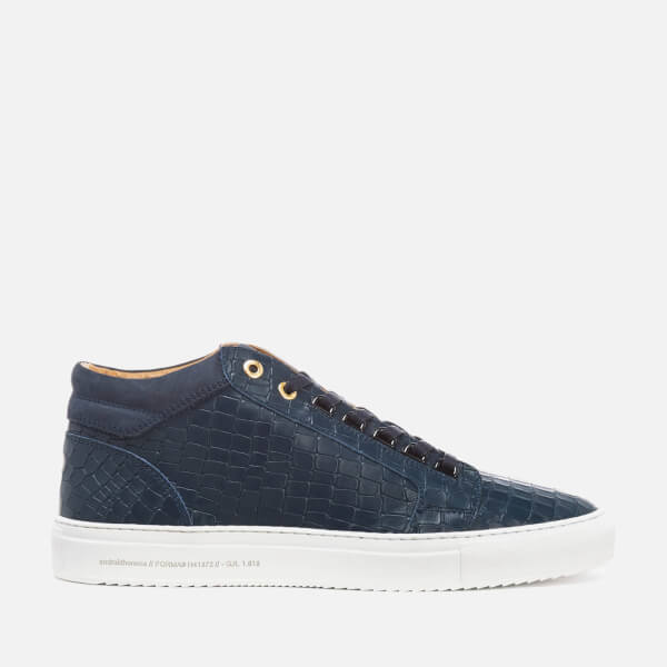 Android Homme Men's Propulsion Mid Croc Embossed Leather Trainers - Navy
