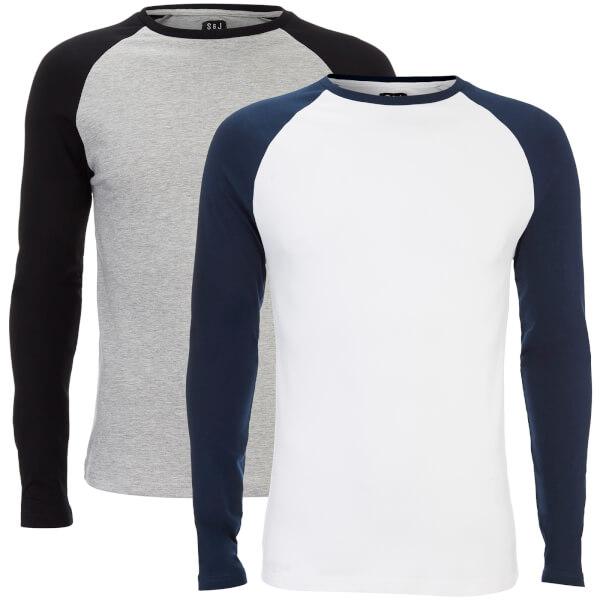 Smith & Jones Men's Hurtz 2 Pack Raglan Long Sleeve T-Shirt - Grey/Navy