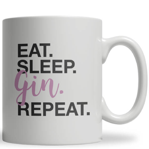 Eat Sleep Gin Repeat Ceramic Mug