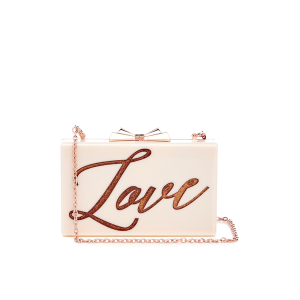 e32f99bef70599 Ted Baker Women s Siann Glitter Word Resin Clutch Bag - Natural  Image 1