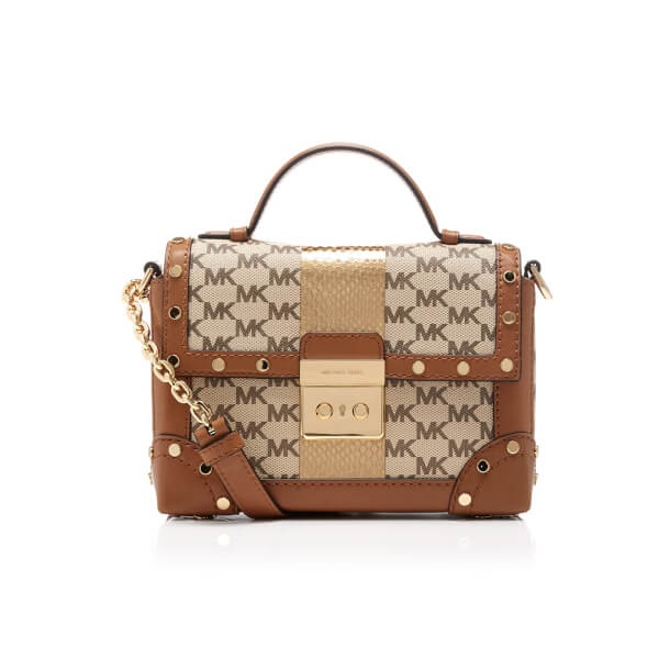 8c2c892b4e40 MICHAEL MICHAEL KORS Women s Centre Stripe Cori Small Trunk Bag - Natural   Image 1