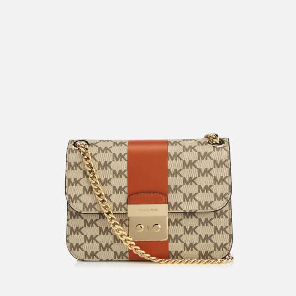 b11f8445975a MICHAEL MICHAEL KORS Women s Centre Stripe Sloane Editor Medium Chain  Shoulder Bag - Natural Orange
