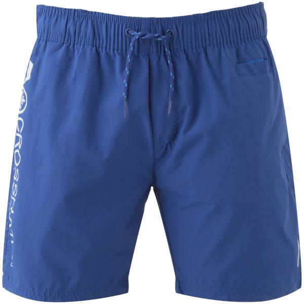 Crosshatch Men's Jennis Logo Swim Shorts - Monaco Blue