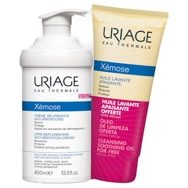 Uriage Xemose Creme Relipidante Anti-Irritations 400ml and FREE Xemose Huile Lavante 200ml