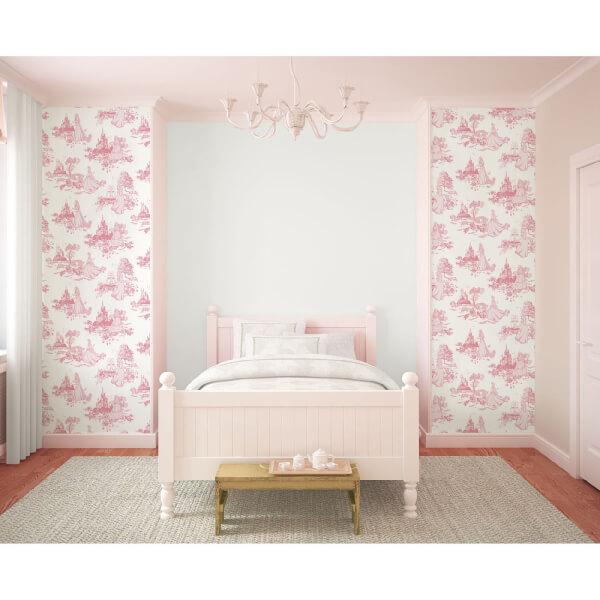 Disney Princess Girls Toile Print Pink Wallpaper