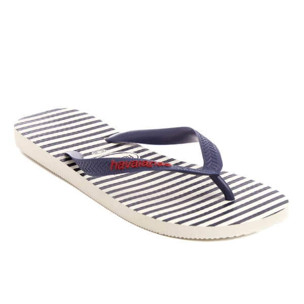 87618b6118c Havaianas Men s Top Nautical Flip Flops - White Navy Blue Womens ...