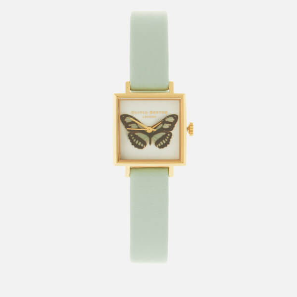 Olivia Burton Women's Butterfly Midi Square Dial Watch - Mint/Gold