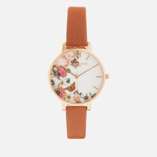 Olivia Burton Women's English Garden Big Dial Watch - Tan/Rose Gold