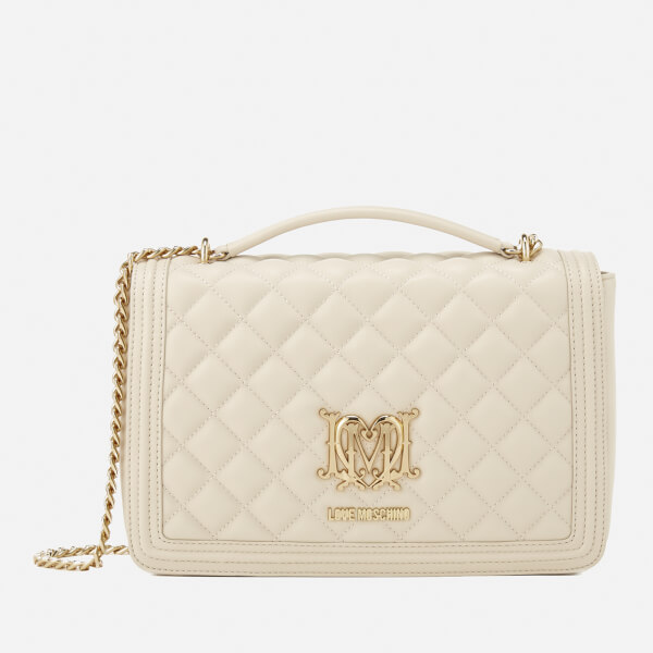 Love Moschino Women's Quilted Medium Flap Shoulder Bag - Ivory