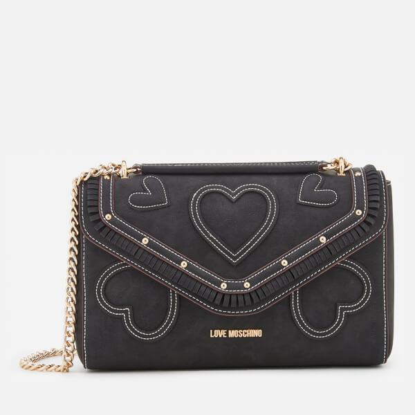 Love Moschino Women's Heart Applique Shoulder Bag - Black