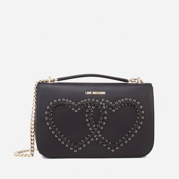 Love Moschino Women's Heart Whipstitch Shoulder Bag - Black
