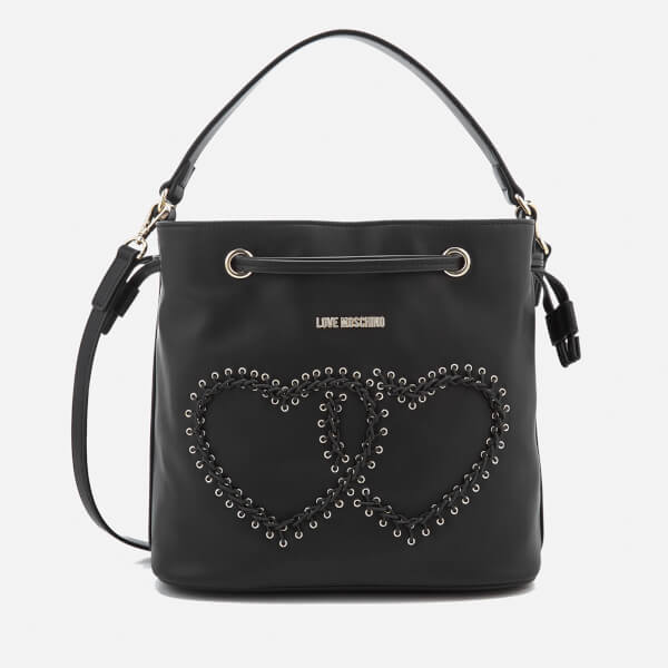 602d543a00 Love Moschino Women s Heart Whipstitch Bucket Bag - Black  Image 1