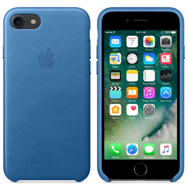 Étui en Cuir pour iPhone 7 -Bleu Mer