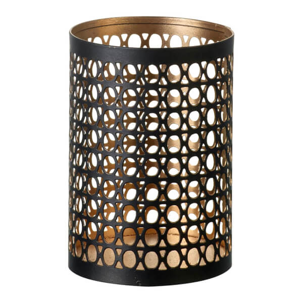 Parlane Keena Metal Tealight Holder - Black/Gold (13 x 9cm)