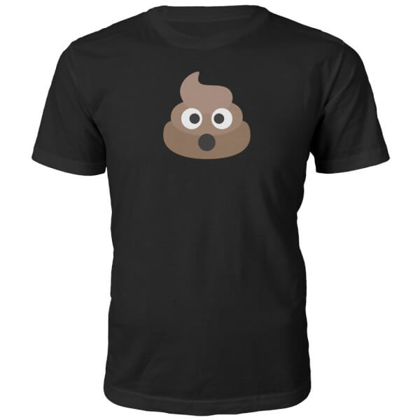 Emoji Unisex Poo Face T-Shirt - Black
