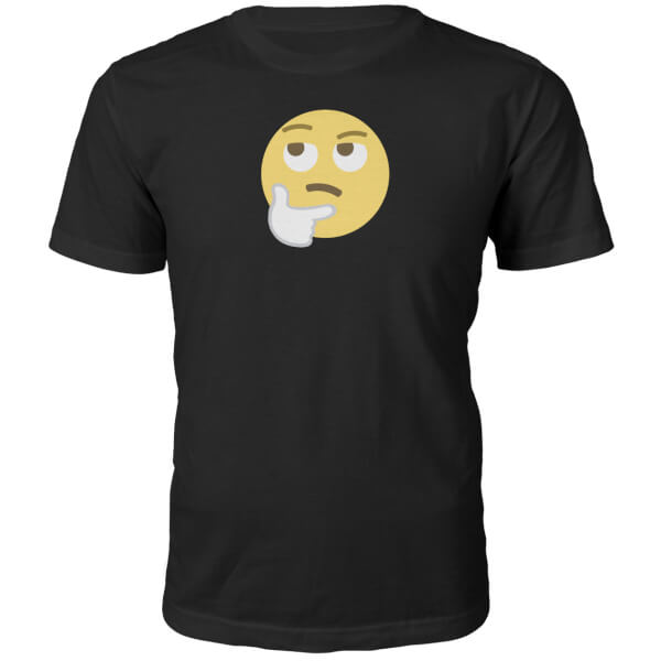 Emoji Unisex Hmm Face T-Shirt - Black