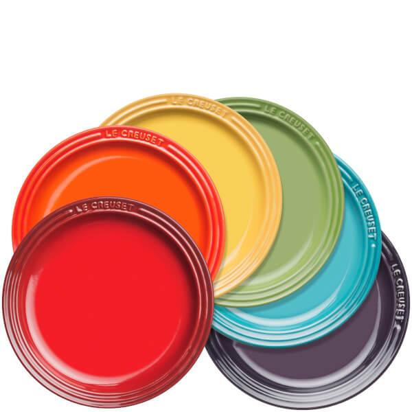 le creuset stoneware rainbow plates set of 6 sowia. Black Bedroom Furniture Sets. Home Design Ideas