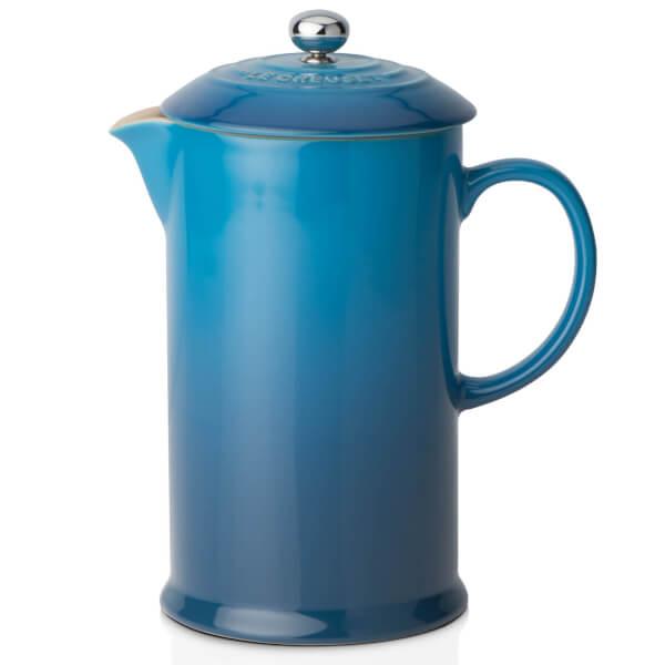 Le Creuset Stoneware Cafetiere Coffee Press Mille Blue