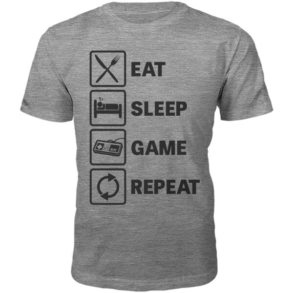 Eat Sleep Game Repeat Slogan T-Shirt - Grey