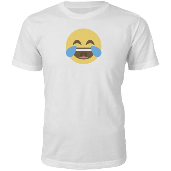 Emoji Unisex Cry With Laughter Face T-Shirt - White