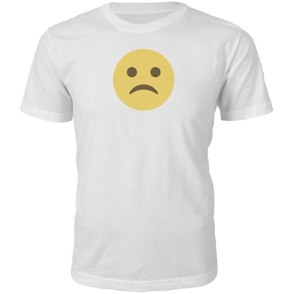 Emoji Unisex Sad Face T-Shirt - White